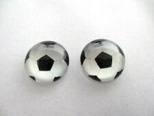 FOOTBALL CABOCHON GLASS STUD EARRINGS 12MM