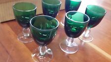 Set di 6 bicchieri a calice, da liquore, in vetro, verde e trasparente h8 cm4,5