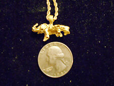 """bling gold plated elephant w/ baby pendant charm 24"""" rope chain hip hop necklace"""