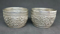 ANTIQUE BEAUTIFUL BURMESE BUDDHA SOLID SILVER DRAGONS BOWLS 90 G.