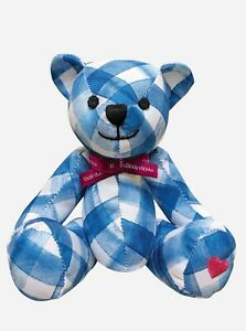 *NEW and RARE* BATH AND BODY WORKS Gingham Blue Plaid Collectible Bear Plush