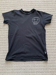 Nununu World Kids Boys Embroidered Sketch Skull Cotton T-shirt In Balck 7-9T