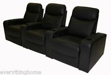 BLACK GENUINE TOP GRAIN LEATHER HOME THEATER SEATING RECLINER CHAIR 4 CUPHOLDERS