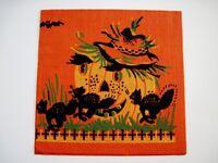 Great Vintage Halloween Napkin w/ Large Pumpkin w/ Black Cats *