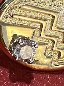 ANTIQUE💥NATURAL .4 Crt DIAMOND AZTEC 14k GOLD GF CLIP ON EARRINGS💥C1920,s 8 gm