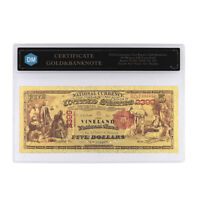 5 Dollars In 1875 24k Gold Banknote with Protect Case for Collection