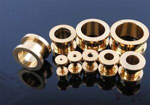 1 PAIR Black Silver Gold Anodized Titanium Screw Fit Flesh Tunnels Ear Plugs