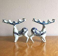 Ultra Rare Royal Copenhagen Fajance Deer Candelabra, Jeanne Grut 1960s Denmark