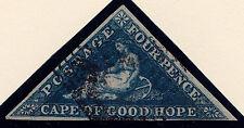 "Cape of Good Hope: Scott #13, Dark Blue ""HOPE"", Wmk 15, Blk. Ccl, 3 Margins, VF+"