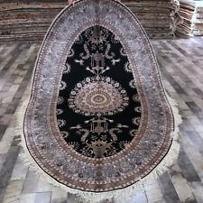 Yilong 5'x8' Oval Hand knotted Bedroom Rug Floral Handmade Silk Area Carpet 333A