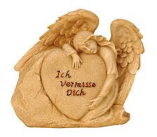Engel Herzstein Spruchstein 14 cm Grabschmuck Grabdeko Grabstein Gedenkstein NEU