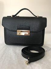 New Furla Julia Top Handle Black Onyx Saffiano Leather mini Shoulder Bag Purse