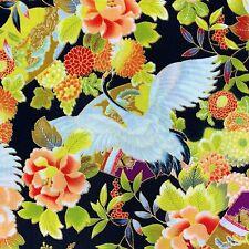 Cranes Japanese fabric, stork heron, black blue gold cotton Chinese Oriental