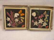 2 Vintage Travail Artisan Dried Pressed Flowers Framed Switzerland w/Orig Boxes