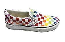 Vans, Women's Classic Slip On Checker Print Rainbow Slip On Shoes, Size 6.5M