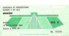RARE / TICKET CONCERT - QUEEN : FREDDIE MERCURY - LIVE A PARIS ( FRANCE ) 1984