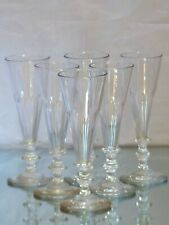 BACCARAT Set 6 Antique 19th Flute Champagne Crystal Glasses blowned handmade