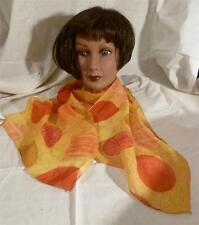 Vtg The Accessories Place 100% Viscose Rectang. Yellow & Orange Scarf Md India