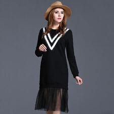 Women's Scoop Neck Long Sleeve Cotton Blend Striped Dresses