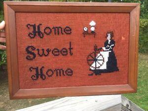 Antique Primitive HOME SWEET HOME Needlepoint Yarn Wall Decor FOLK ART Framed ~