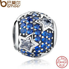 Fresh S925 Sterling Silver Charm Crystal Star Beads Fitting European Bracelets