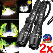 2PCS Tactical 350000LM Zoomable Focus  LED High Power Flashlight 186**50 Torch