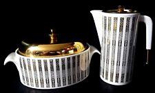 Vtg Mid Century George Briard Coffee Server Casserole Ivory Gold Goldtone Metal