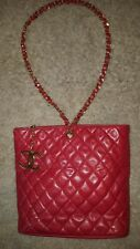 Auth CHANEL Quilted CC Single Chain Shoulder Bag Red Leather Vintage Zip Closure