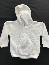 Kissy Kissy White Cotton Knit Hooded Sweater - 9 Months