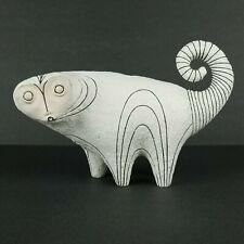 Vintage Pottery Sculpture Ring Tailed Lemur Madagascar Mid Century Black White