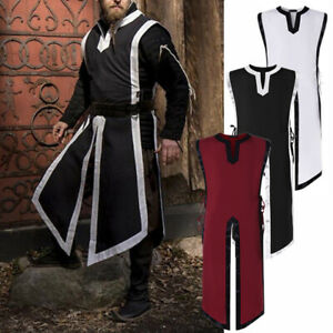 Men's Medieval Tunic Top Shirt Knight Cosplay Costume Norseman Party Vest Cloak