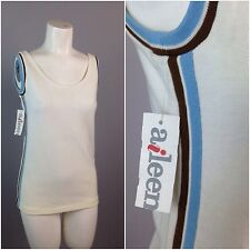 Vintage NOS 60s Mod Stripes Cotton Sleeveless Blouse Tank Top Shirt S Beach