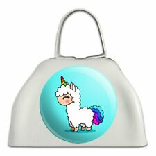 Cute Kawaii Rainbow Llama Unicorn White Metal Cowbell Cow Bell Instrument