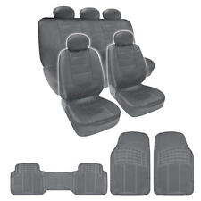 Complete Set Gray PU Leather Seat Covers & Gray 3 Piece PVC Mats BDK design