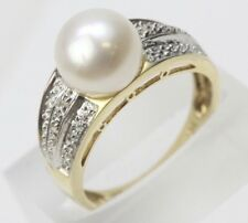 Women's 14k Yellow Gold Ring with Pearl Solitaire and Diamond Accents size 7