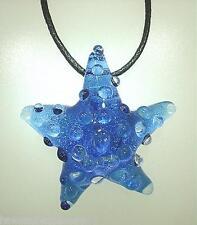 Lampwork Dichroic Color Glass Hawaiian Textured Starfish Pendant Adjustable #18
