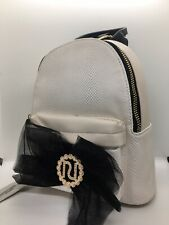 River Island cream textured RI bow backpack new with tags