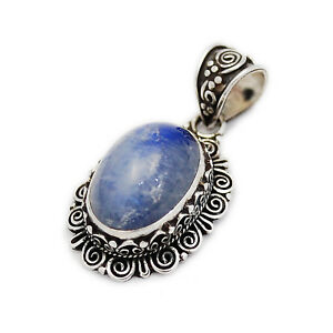 GENUINE OVAL BLUE MOONSTONE 925 STERLING SILVER TRIBAL FLORAL PENDANT gs-137