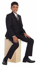Magen Boys black suit 5 pcs set coat,vest,pant,shirt,clip tie BS-5088 Size 1-18
