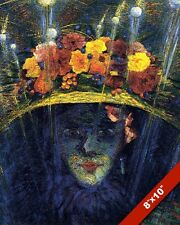 MODERN IDOL WOMAN WITH FLOWER HAT & FIREWORKS PAINTING ART REAL CANVAS PRINT