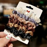 6PCS Elastic Hair Bands Scrunchies Bun Ring Scrunchy Women Girls Ponytail Holder