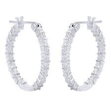 Summer Sale Inside Outside Natural Diamond Accent Hoop Earrings Set 925 Silver