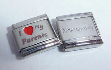 I LOVE MY PARENTS 9mm Italian Charm + 1 x Nomination Classic Link Mum RED HEART