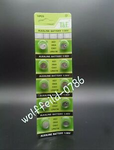 AG7 X 10 T&E LR927 LR57 395 399 SR927W SR57 ALKALINE Calculator Watch BATTERY