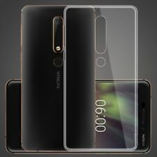 Clear Slim Gel Case & Glass Screen Protector for Nokia 6 (2018) / 6.1