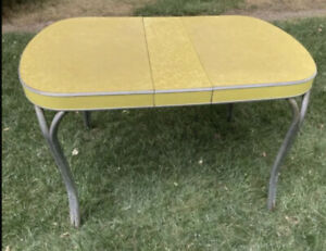 Vintage Formica Kitchen Table - Yellow and Chrome