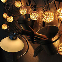20 LED  Weiße Rattan-Kugel  Lichterkette Fairy Lampe Dekor 110V-125V~