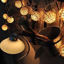 20 LED  Weiße Rattan-Kugel  Lichterkette Fairy Lampe Party Dekor 110V-125V TOP
