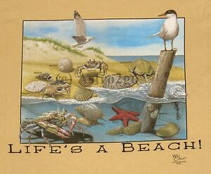 LIFE'S A BEACH!--Ocean Seashore Sand Crabs Shells Science Nature Kids T Shirt