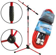 KEEPDRUM MS106 RD Rot Mikrofonständer Stativ mit Galgen + 6m XLR Kabel Rot